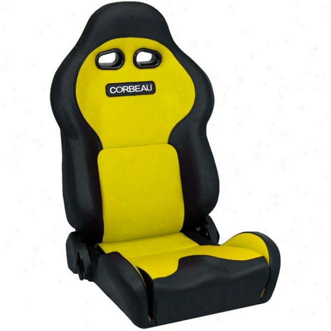Corbeau Seat, Black Vinyl, Yellow Cloth
