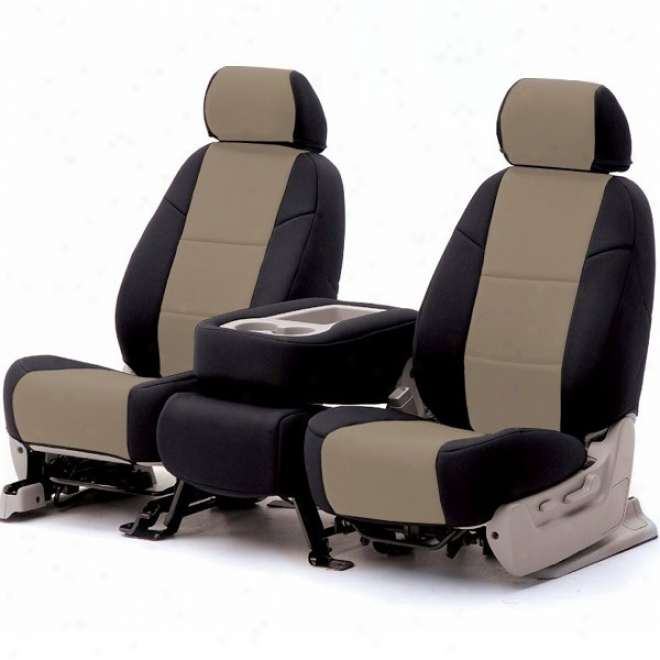 Coverking, Front Bucket Seat Cover, Leatherette (black Forward Beige)