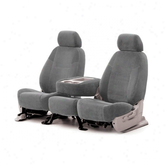 Coverking Front Bucket Seat Cover Velour Gray