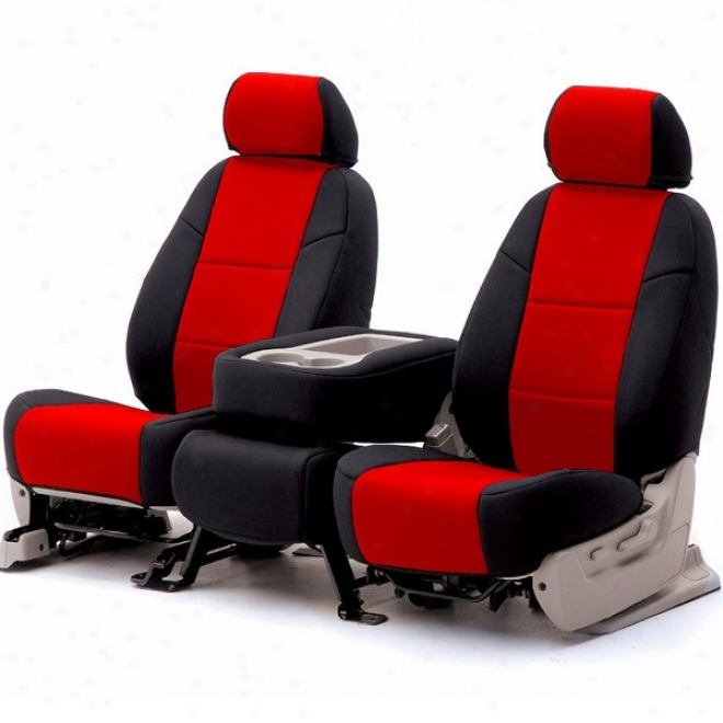 Coverking Front Reclining Seat Cover Leatherette Red/black