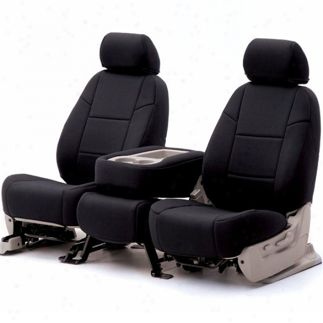 Coverking Frront Seat Cover Genuine Leather Black