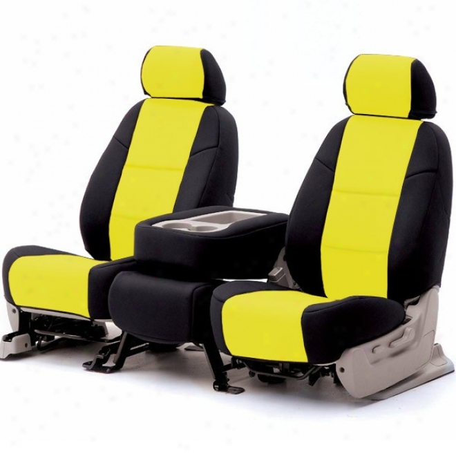 Coverking Front Seat Cover Leatherette Golden On Black