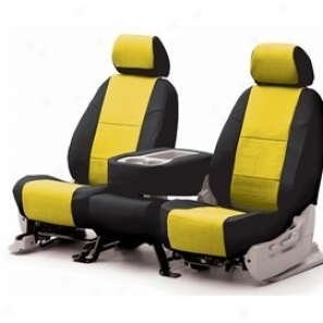 Coverking Rear Seat Cover Leatherette Yellow On Black