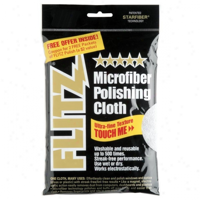 Flitz Microfiber Polishing Cloths, Silver Bagged