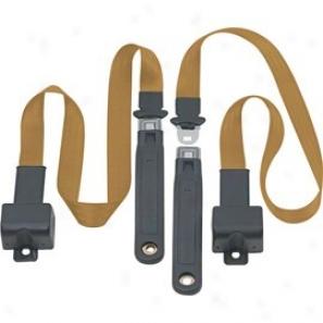 Front Metal Pish Button 2 Point Retractable Lap Belts, Medium Beige