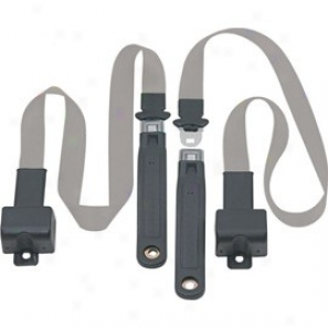 Front Metal Push Buttton 2 Point Retractable Lap Belts, Gray