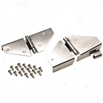 Kentrol Windshield Hinges Set, Spotless Steel, Without Pattern Holes