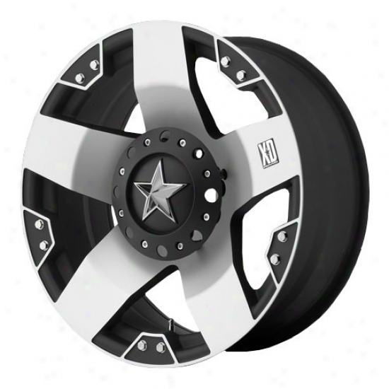 Kmc Xd Rockstar Series Wheel, Size: 20x10, Bolt Pattern: 5x5/5.5, Back Spacing: 4.56, Offset: -24mm, Machined Black