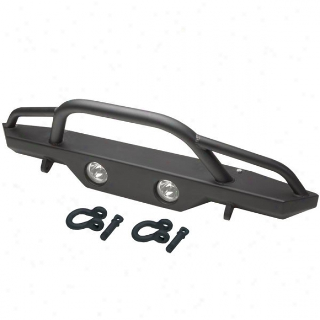 Rampage Front Recovery Bumper With Stinger And Light Cut Outs, Satin Black