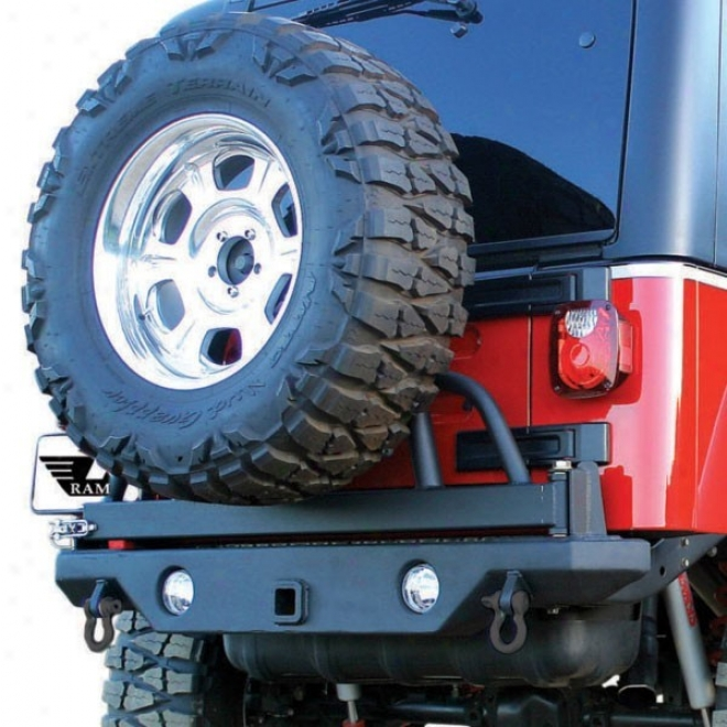 Ramlage Rear Recovery Bumper With Swing Away Tire Mount And Light Cut Outs, Textured Wicked