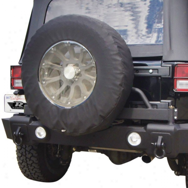 Rampage Rear Recovery Bumper With Swing Away Tire Carrier, Textured Black