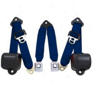 Rear Metal Push Button 3 Point Retractable Belts, Cobalt Blue