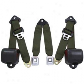 Rear Metal Push Button 3 Point Retractable Belts, Military Green