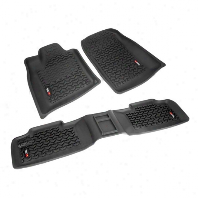 Rugged Ridge, All Terrain, Floor Liners Kit, Van & Rear, Black