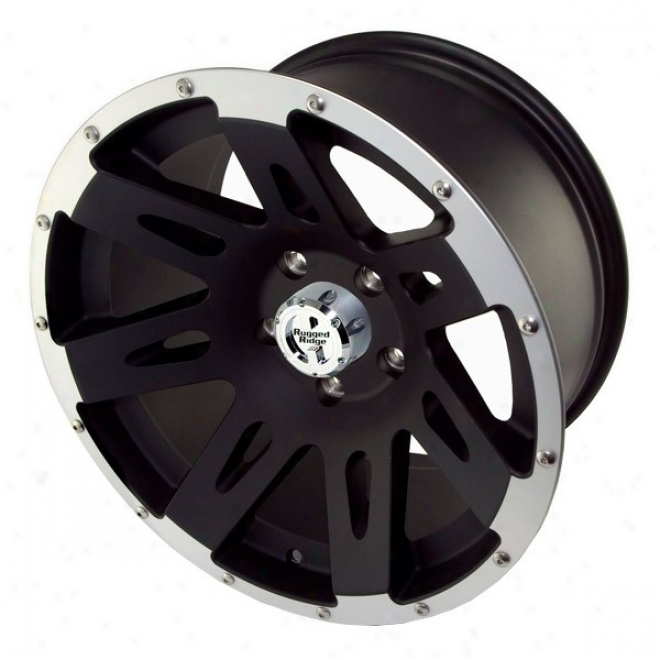 Uneven Ridge Aluminum Wheels Black W/ Machined Lip