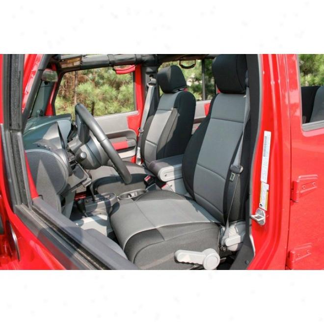 Rugged Ridge Neoprene Front Seat Covers Blacj With Gray