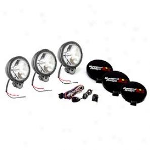 Rugged Ridge Off Road Haze Light Kit, Three Lights Withwiring Harness, 6-in Round Black