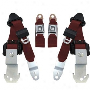 Seatbelt Solutions, Face Trial Button 3 Point Retractable Seat Belts, Pair, Maroon