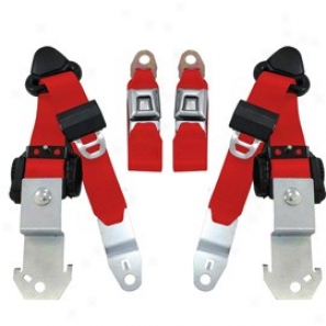 Seatbelt Solutions, Front Push Button 3 Point Retractable Seat Belts, Pair, Red