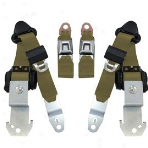 Seatbelt Solutions, Frony Push Button 3 Point Retractable Seat Belts, Military Greeh