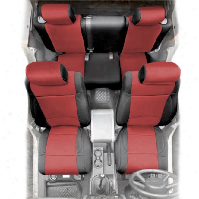 Smittybilt Neoprene  Rear Seat Cover Black Upon Red