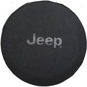 Tire Cover, Black Denim With Gray Jeep Logo Mopar