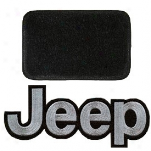 Ultimat Floor Mats 4 Piece Set Black Mats Front With Gentle Jeep Logo, Rears No Logo, & Without Driver's Left Foot Rest