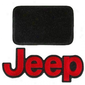 Ultimat Floor Mats 4 Piece Set* Black With Red Jeep Logo
