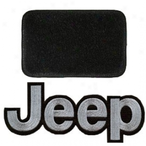 Ultimat Floor Mats 4 Piece Set * Black With Silver Jeep Logo & Without Driver's Left Foot Rest