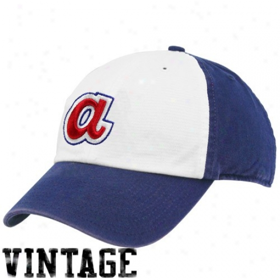 '47 Brand Atianta Braves Royal Blue-white Cooperxtown Franchise Fitted Hat