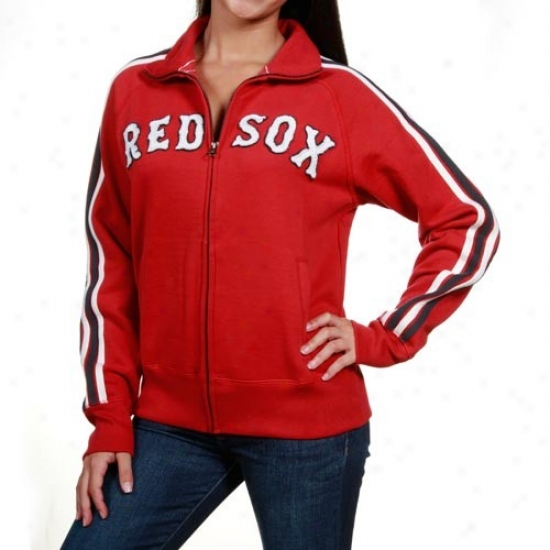 '47 Brand Boston Red Sox Ladies Red Air Track Full Zkp Jacket