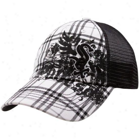 '47 Brand Chicago White Sox Black-white Suffolk Closer Plaid Stretch Fit Meh Adjustable Trucker Hat