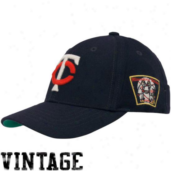 '47 Brand Minnesota Twins Navy Blue Cooperstown Brooksby Flex Paroxysm Hat