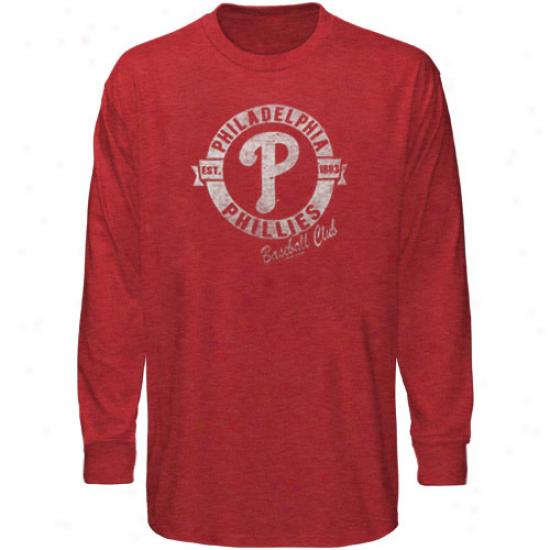 '47 Brand Piladelphia Phillies Red Vintage Premium Long Sleeve Slub T-shirt