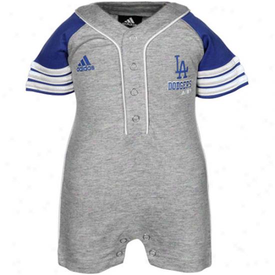 Adidas L.a. Dodgers Infant Ash Jersey Romper