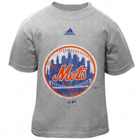 Adidas New York Mets Toddler Ash Distressed Logo T-shirt