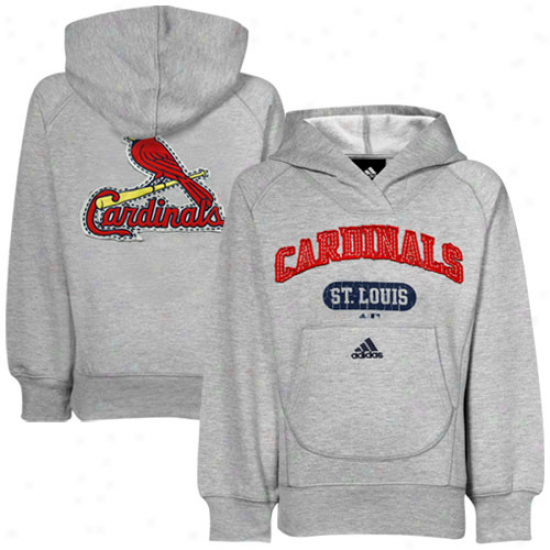 Adidae St. Louis Cardinals Youth Girls Ash Pop Over Shawk Coklar Phllover Hoody