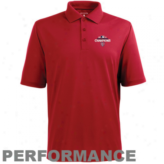 Antigua St. Louis Cardinals Red 2011 World Series Champoons Excees Performance Polo