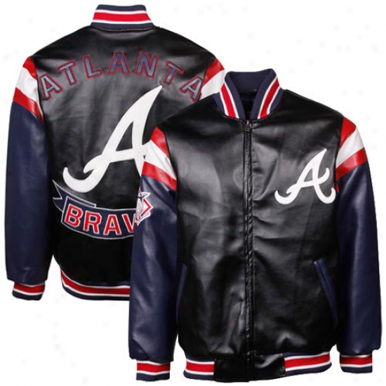 Atlanta Braves Black Pleather Varsity Full Zip Jacket