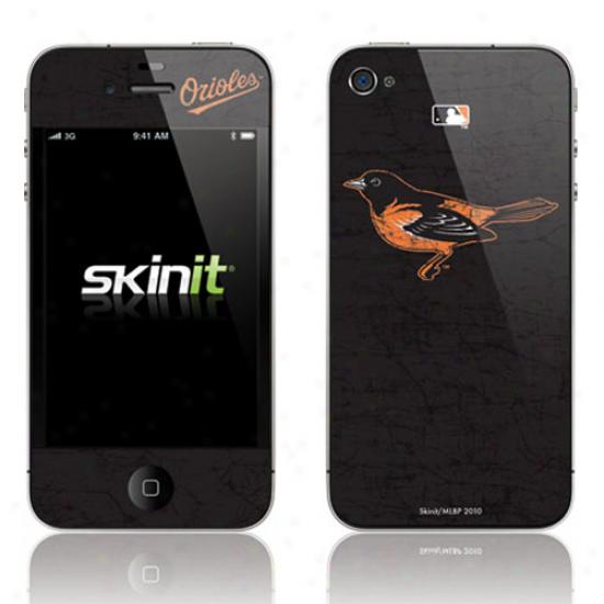 Baltimore Orioles Black Iphone 4 Distressed Skin