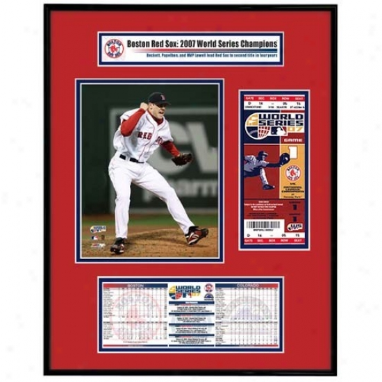 Boston Red Sox 2007 World Series Ticket Framd Jr.- Game 2 Winner Short Schilling