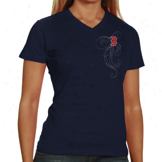 Boston Red Sox Ladies Navy Blue Cap Logo And Swirl V-neck T-hsirt