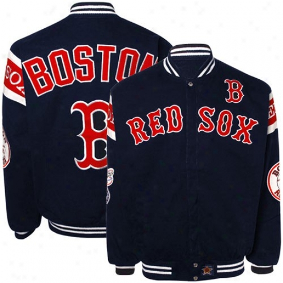 Boston Red Sox Navy Blue Full Button Twill Jacket