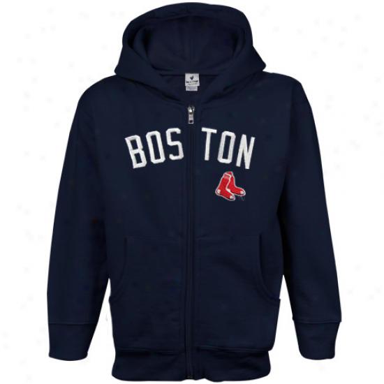 Boston Red Sox Toddler Navy Blue Emblem Exactly Zip Hoodie Sweatshirt