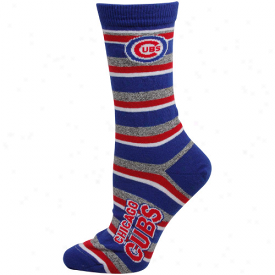 Chicago Cubs Ladies Royal Blue-gray Striped Tall Socks