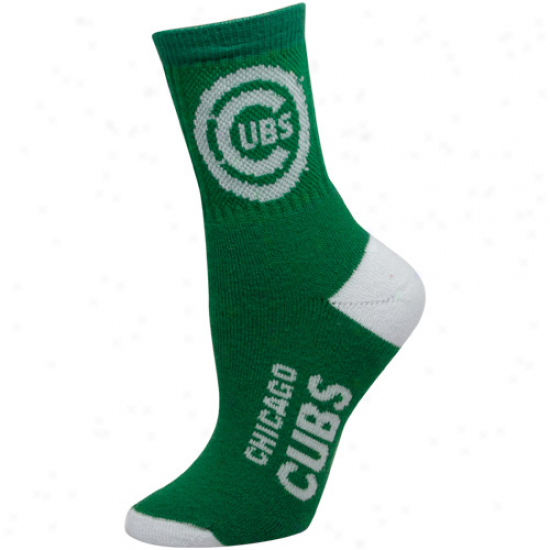 Chicago Cubs Ladies Shamrock Green-white Dual-color Team Logo Crew Socks