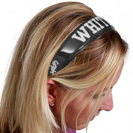 Chicago White Sox Ladies Black Large Domed Headband