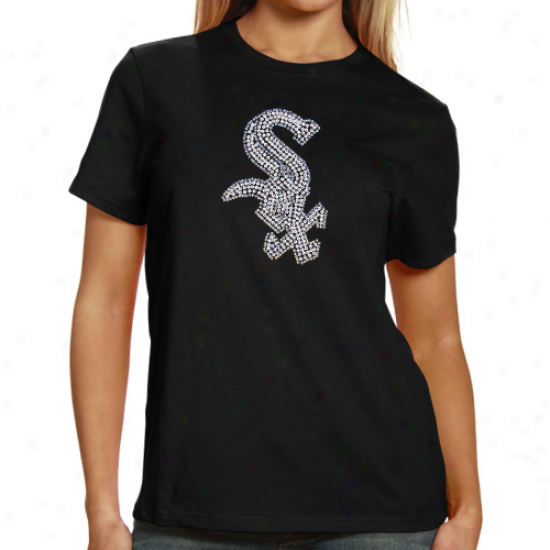 Chicago White Sox Ladie Sequin Jersey Logo Premium T-shirt - Black