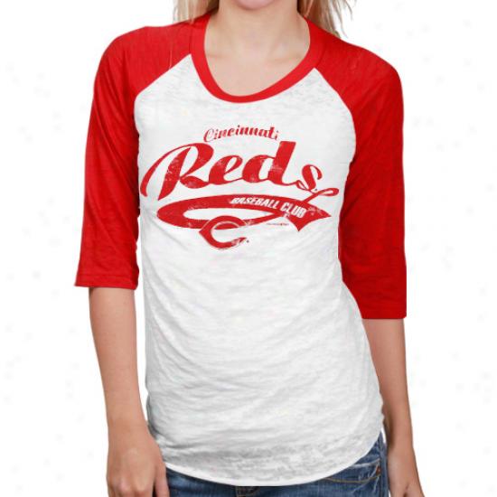Cincinnati Reds Ladies White-red Burnout Raglan Three-quarter Length Sleeve T-shirt