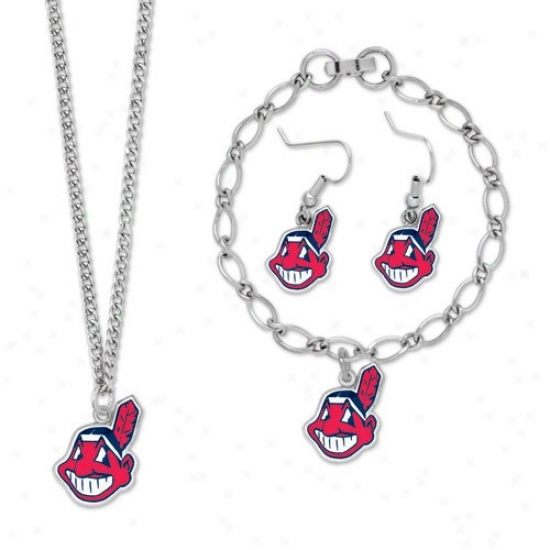 Cleveland Indians Ladies Silver-tone Jewelry Gift Set